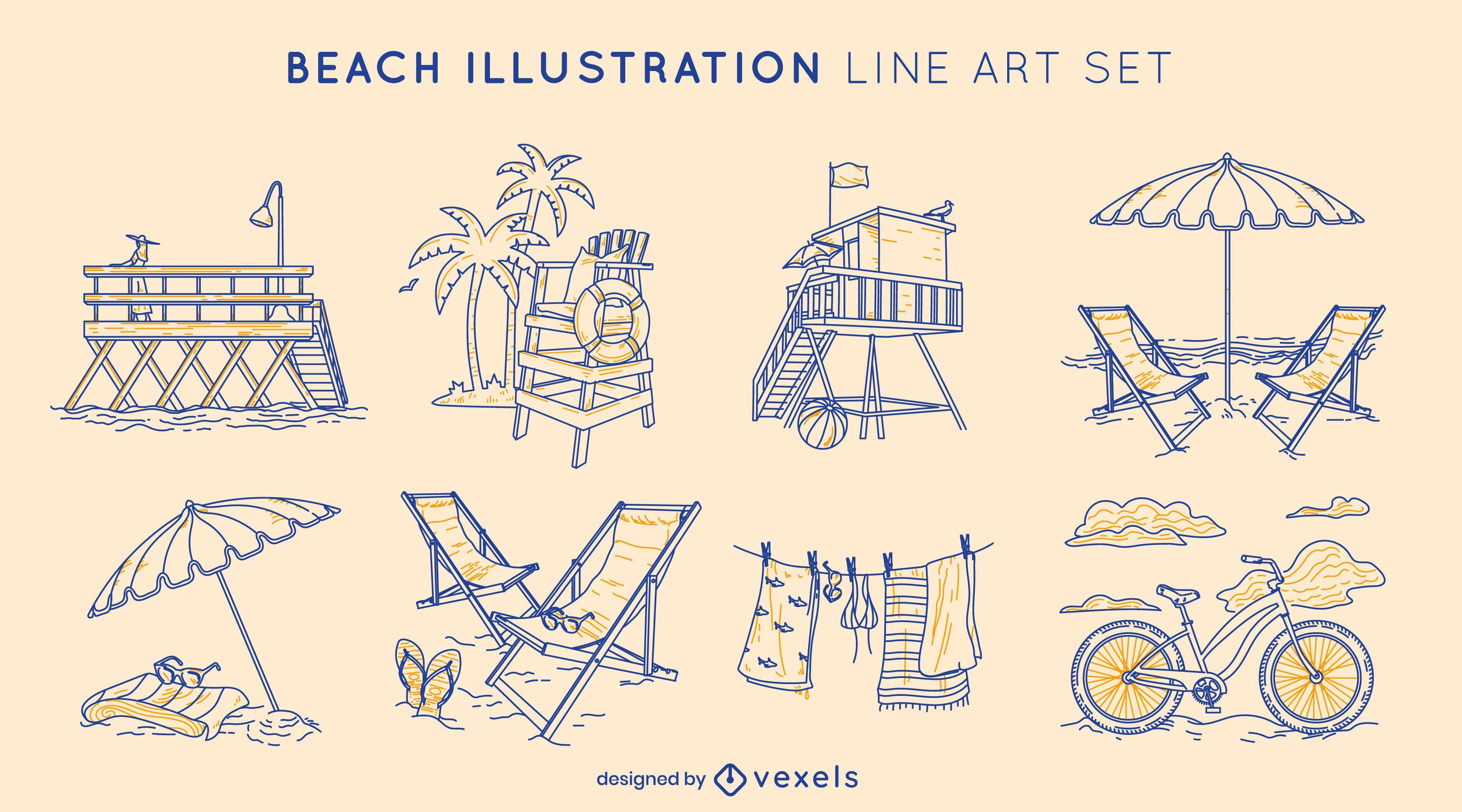 Summer beach elements line art set