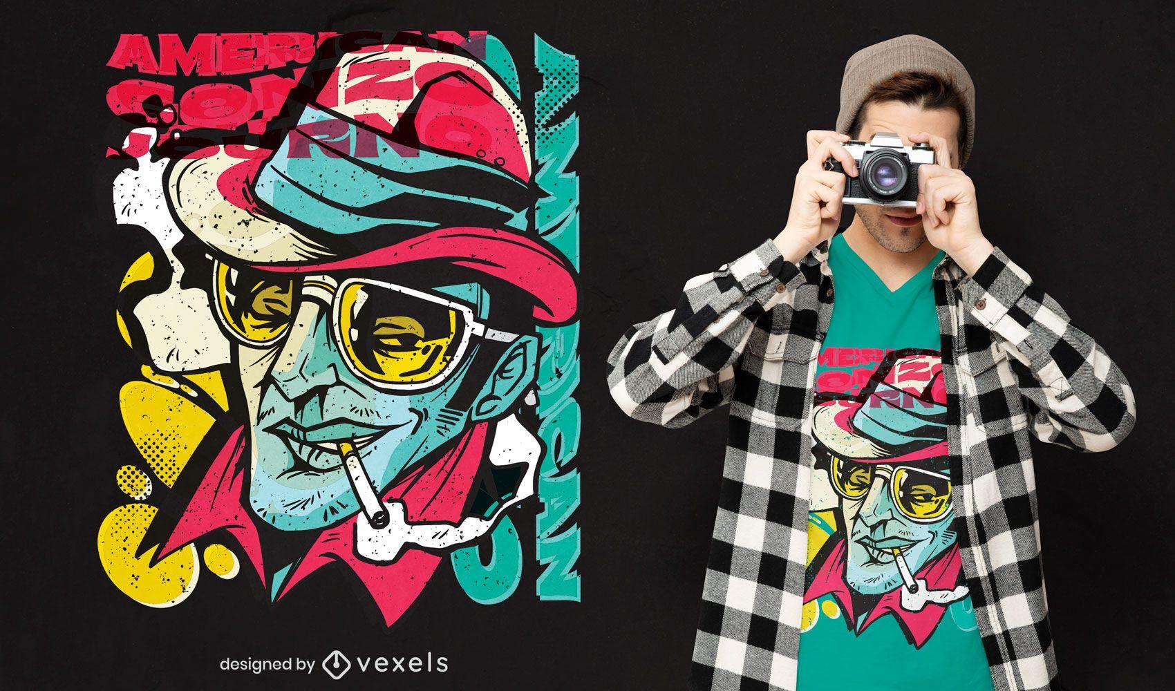 Hunter Thompson graffiti t-shirt design