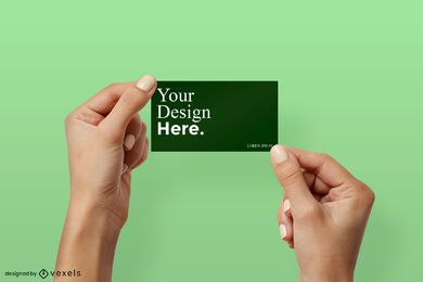 Two hands holding business card mockup