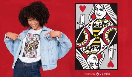 Diseño moderno de camiseta con tarjeta Queen of Hearts.