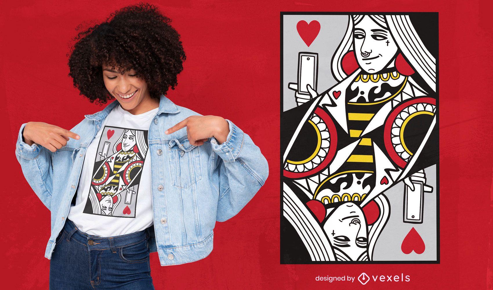 Modernes T-Shirt-Design der Königin der Herzen-Karte