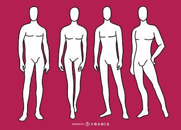 Conjunto de manequim de modelo de moda masculina