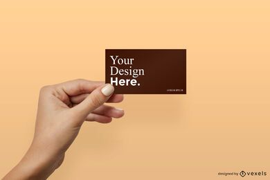Girl hand holding business card mockup