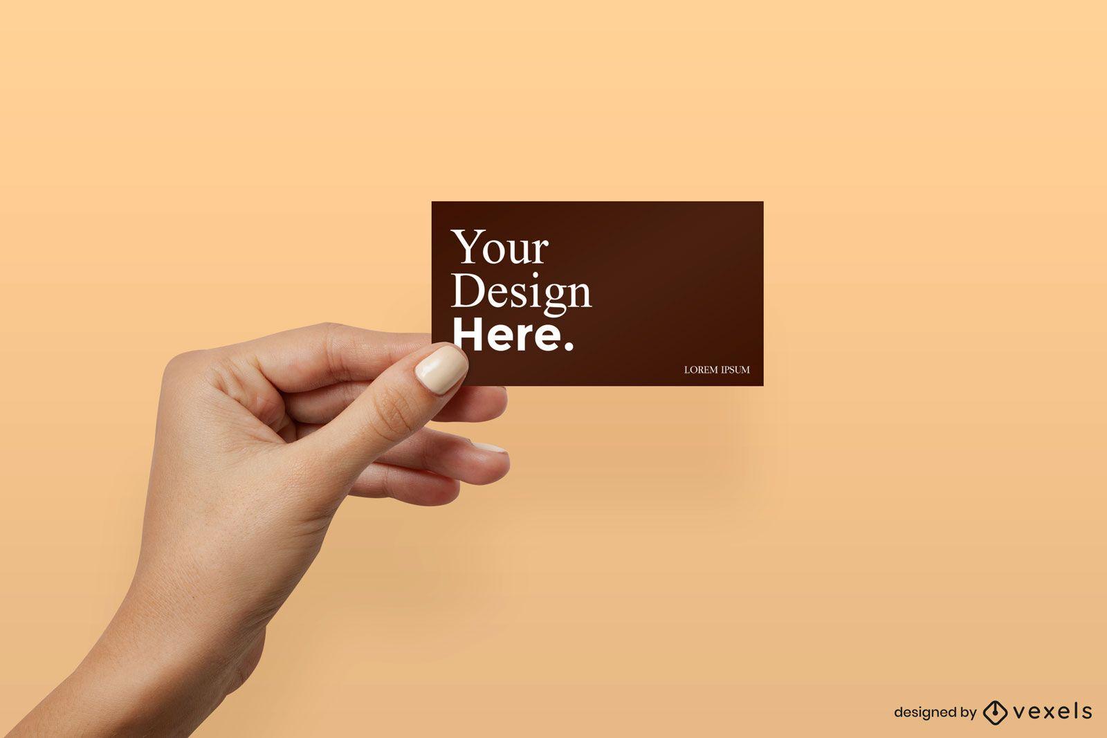 Girl hand holding business card mockup