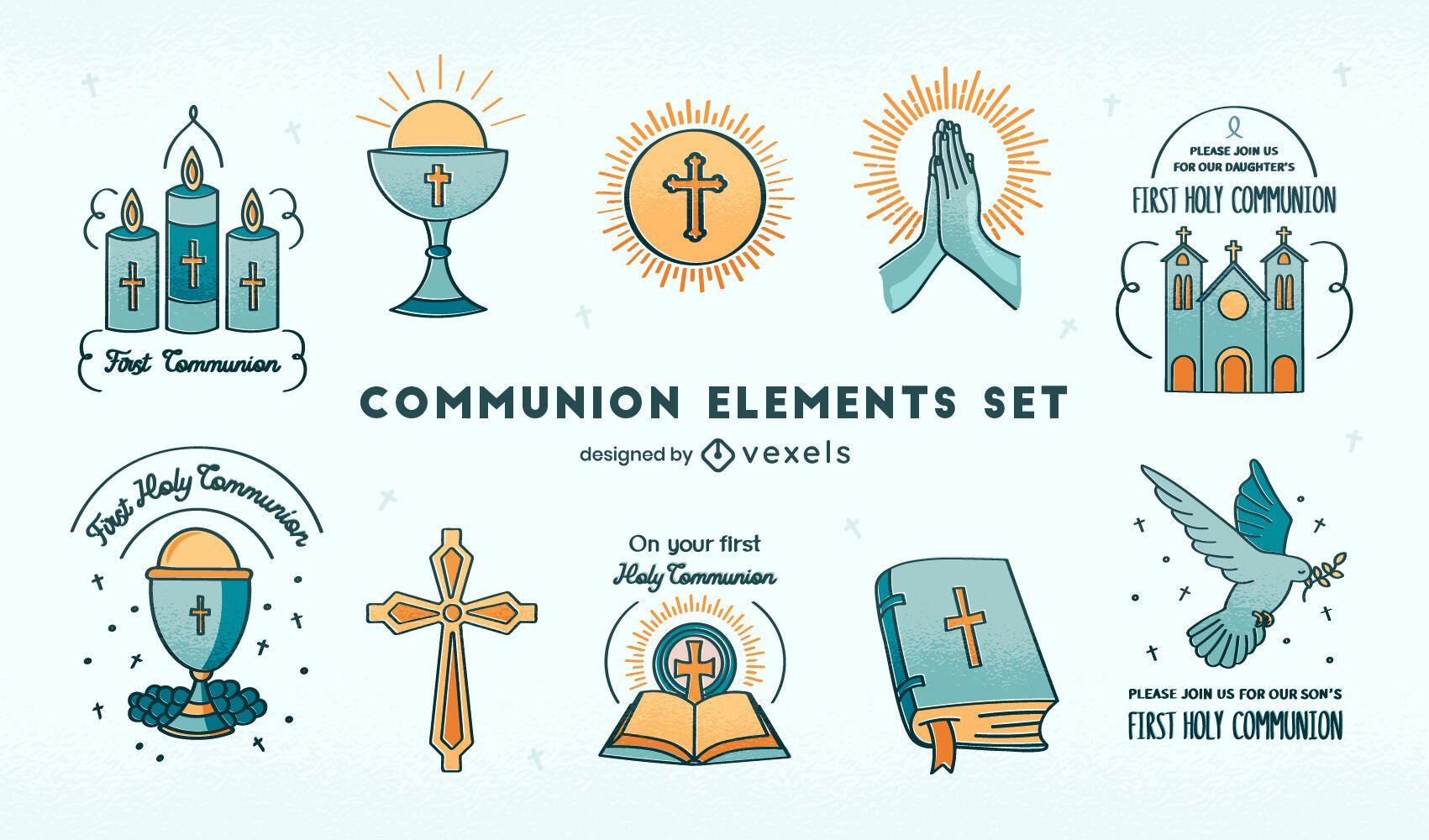 Conjunto de comunión de religión cristianismo