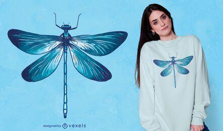 Design realista de t-shirt de libélula azul