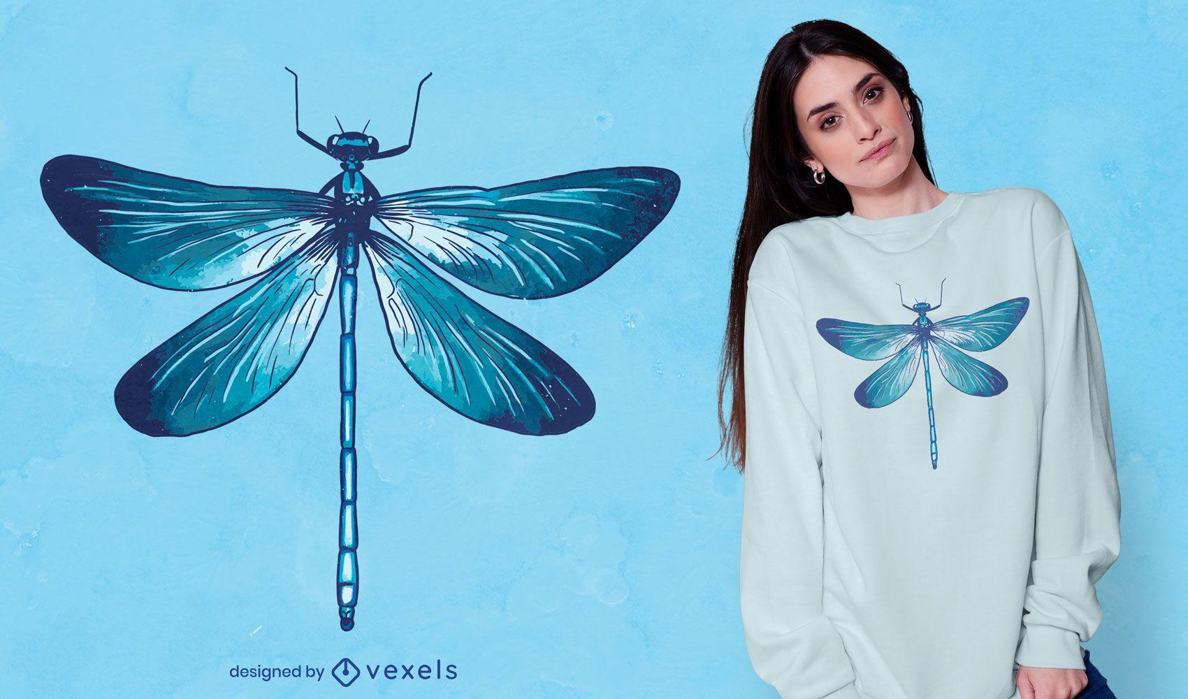 Diseño de camiseta realista de libélula azul