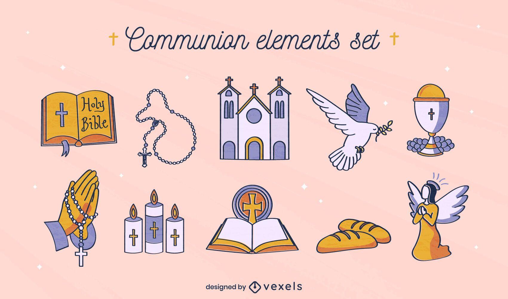 Conjunto de comunión de religión cristiana.