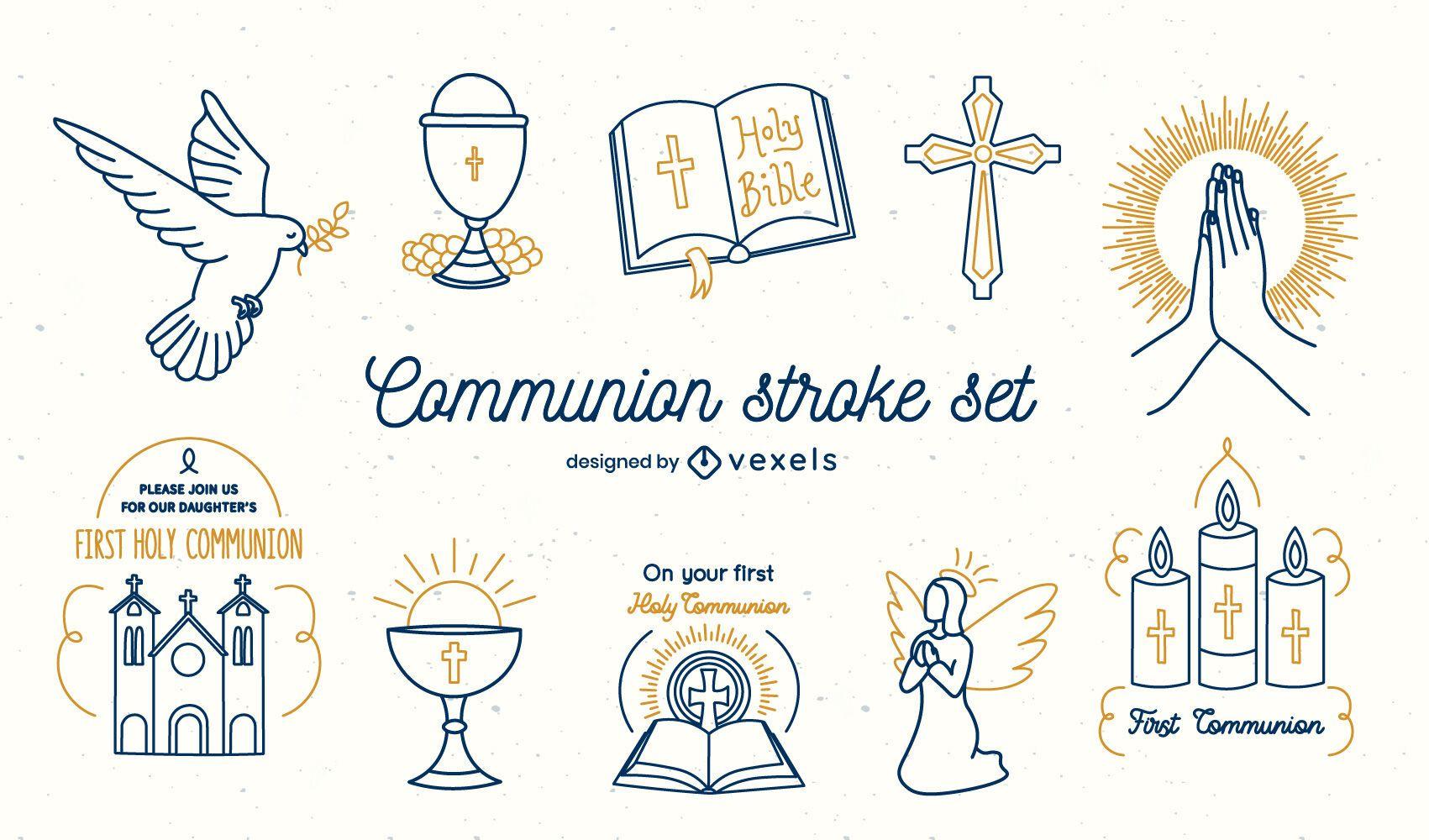 Conjunto de arte de línea de comunión de religión cristiana.