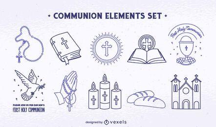 Conjunto de arte religiosas, cristianismo, comunhão