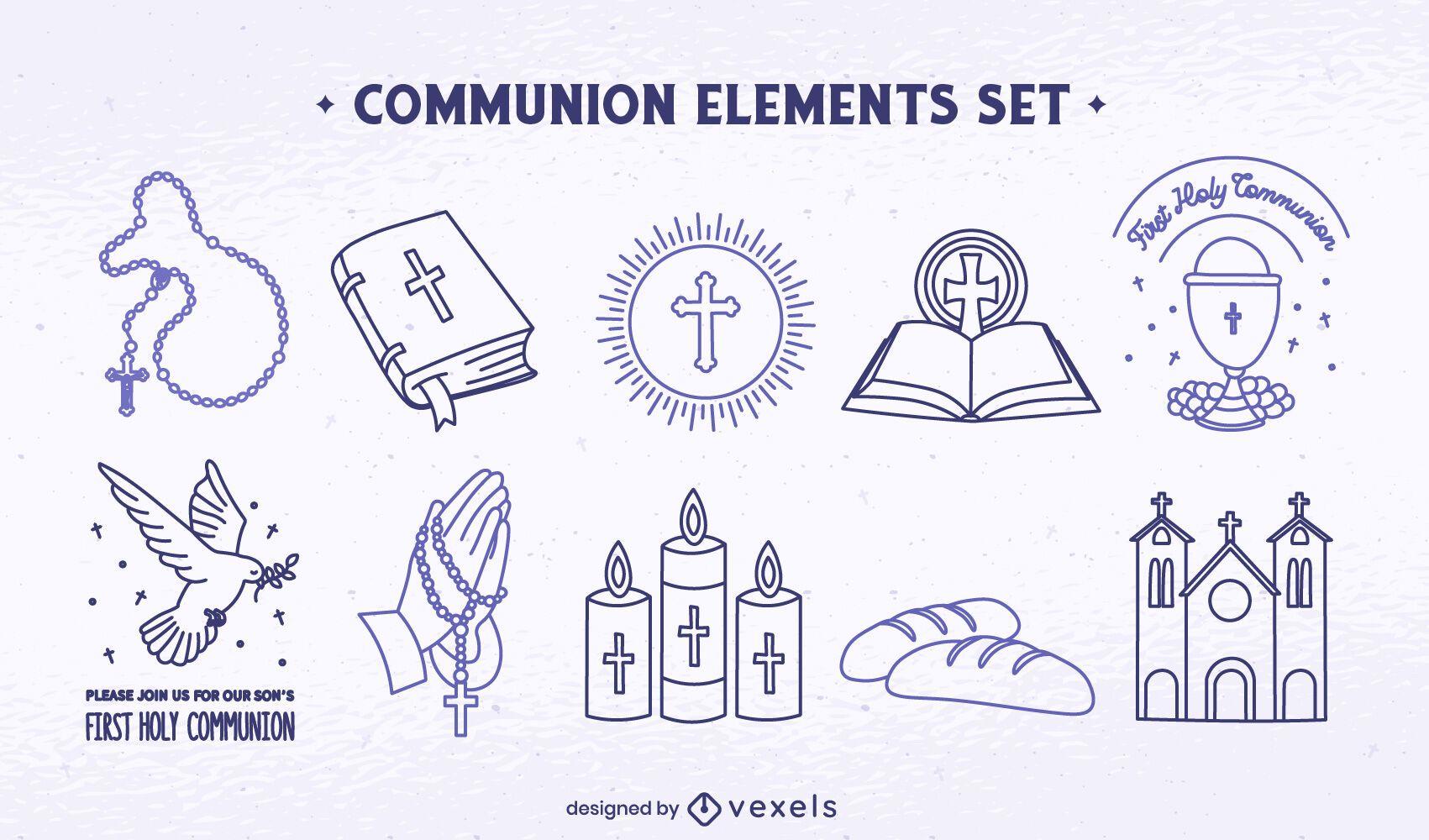 Conjunto de arte de línea de religión cristianismo comunión