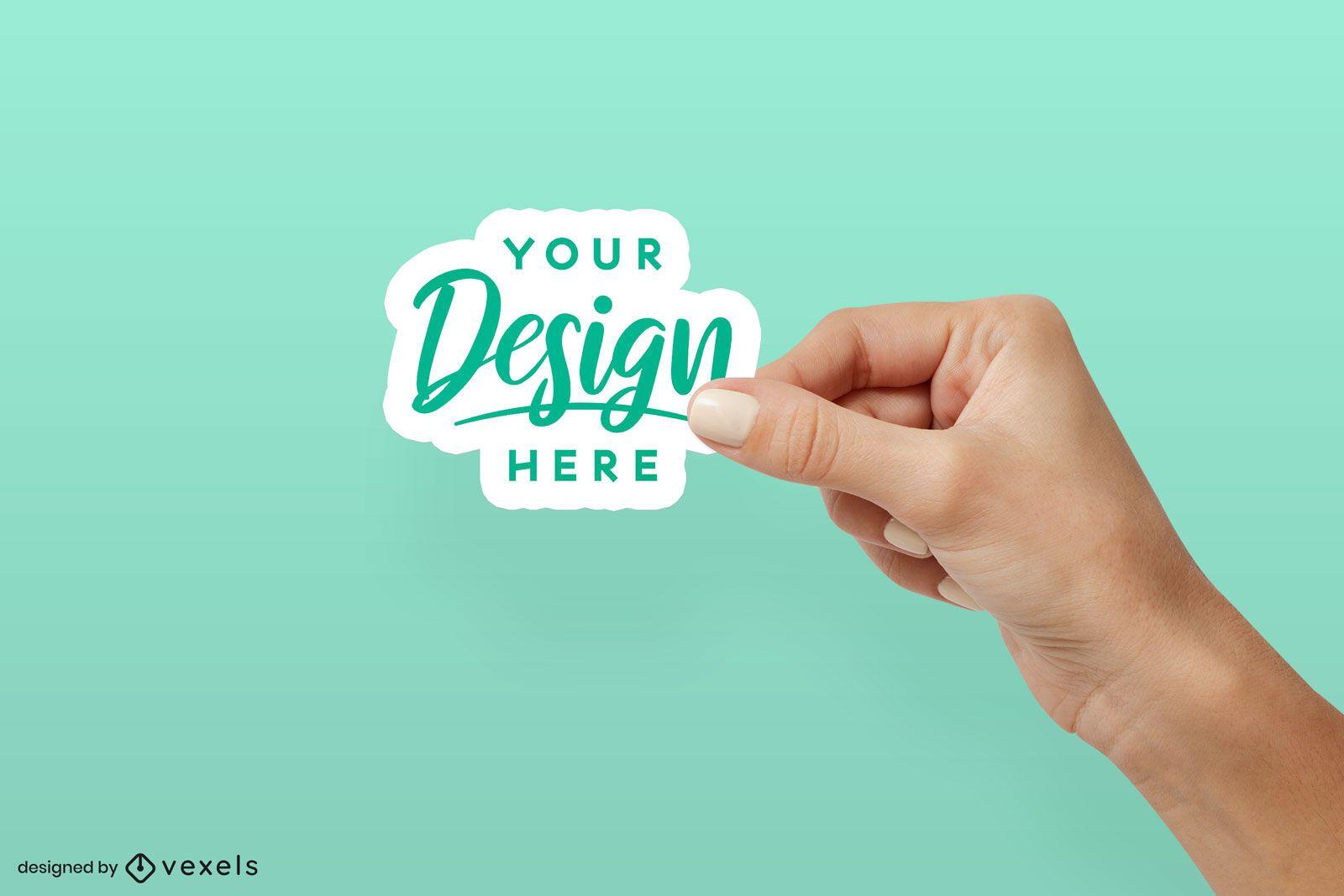 Right hand holding sticker mockup