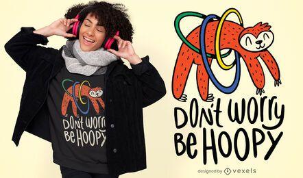 Diseño de camiseta con cita de perezoso hula hooping