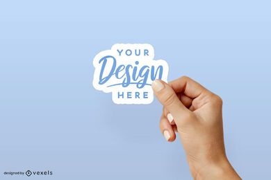 Right hand solid background sticker mockup