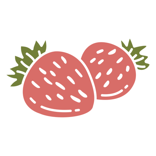 Pair of strawberries color cut out