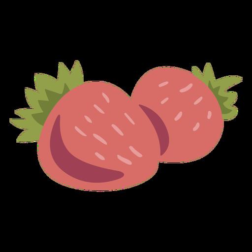Pair of strawberries semi flat