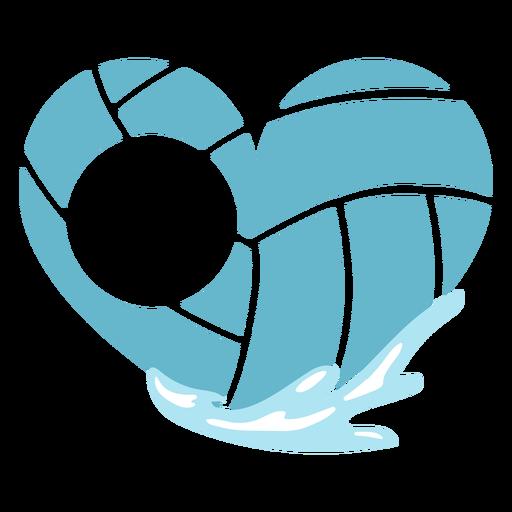 Waterpolo ball heart shaped editable badge