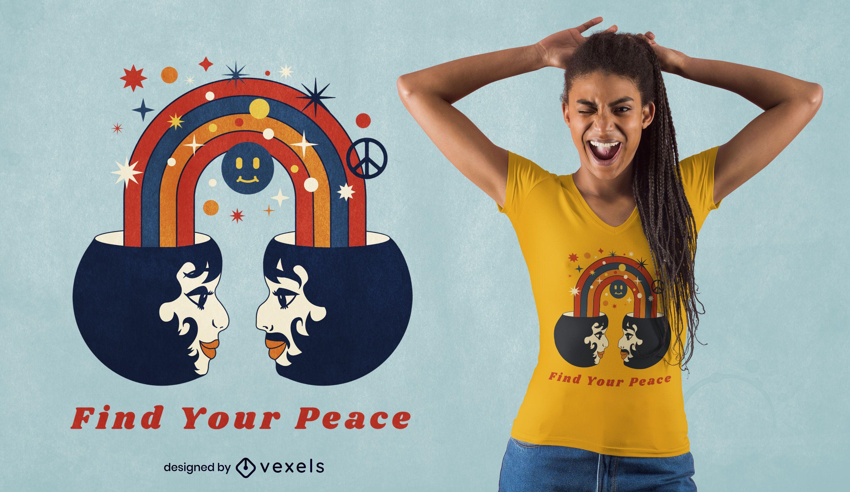Design de camiseta com arco-íris para o Dia da Paz