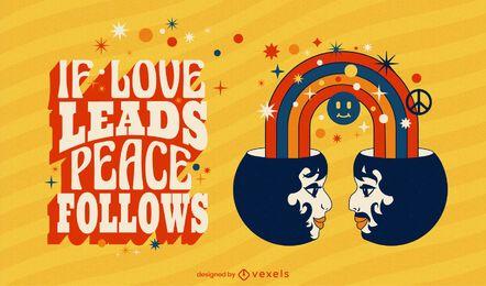 Ilustração de citação de paz e amor