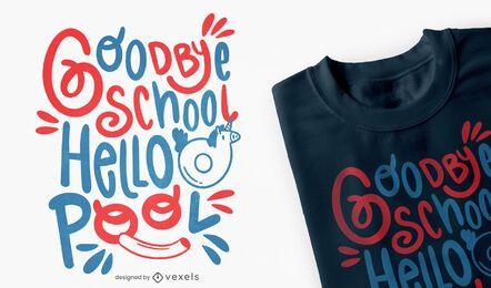 Adiós diseño de camiseta de verano de la escuela.