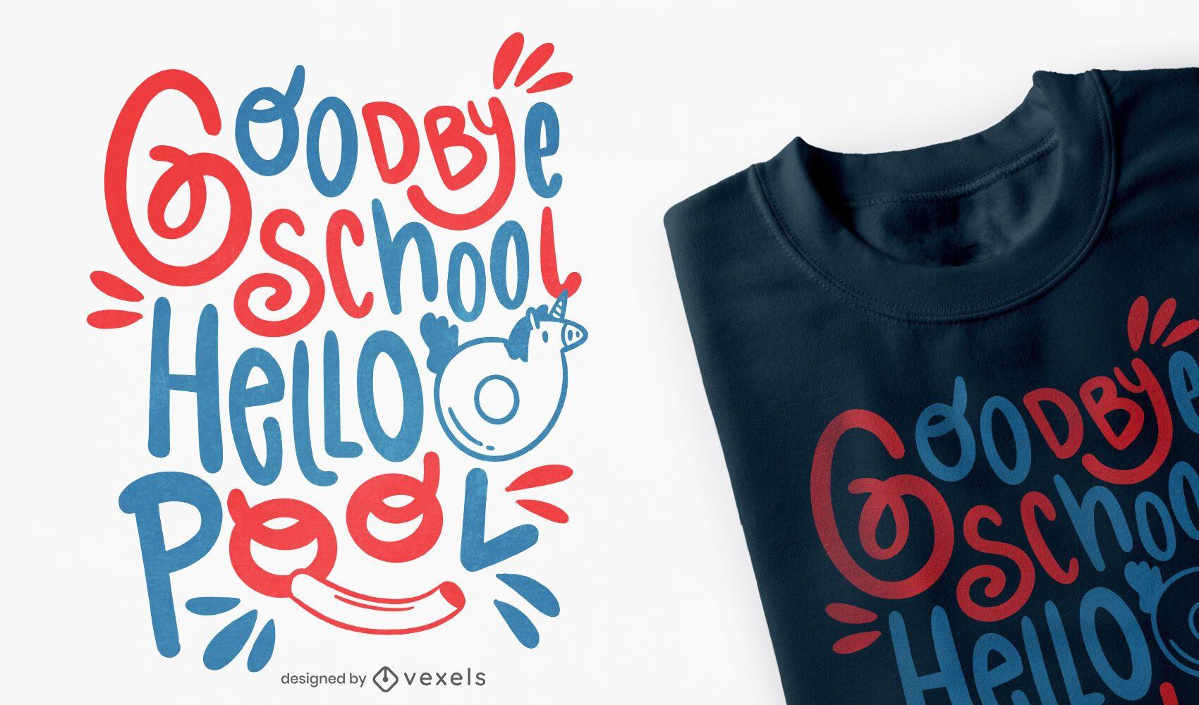 Adeus design de t-shirt para o verão escolar