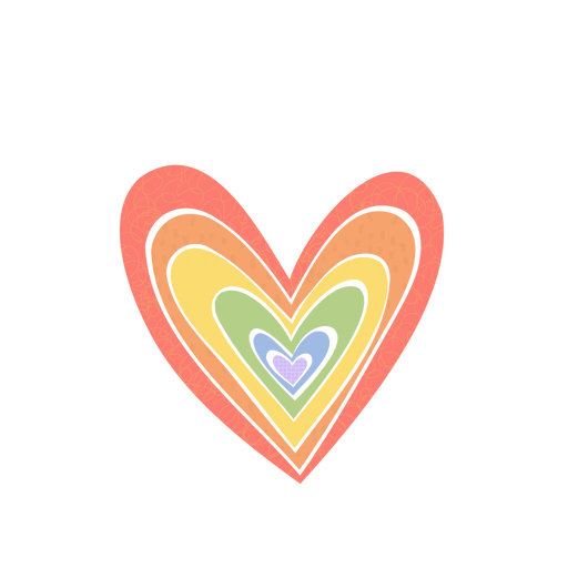 Colored heart cut out