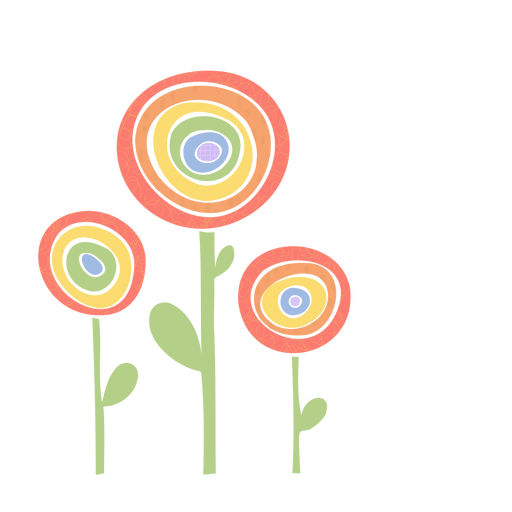 Rainbow flowers flat
