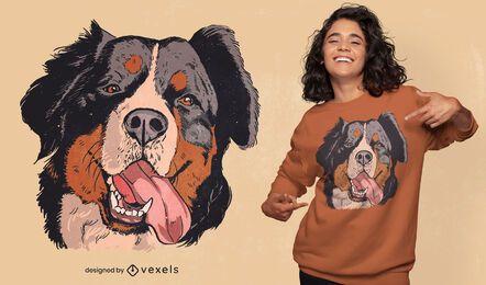 Diseño de camiseta de ilustración de perro de montaña bernés