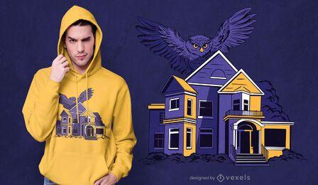 Owl bird flying over house t-shirt design