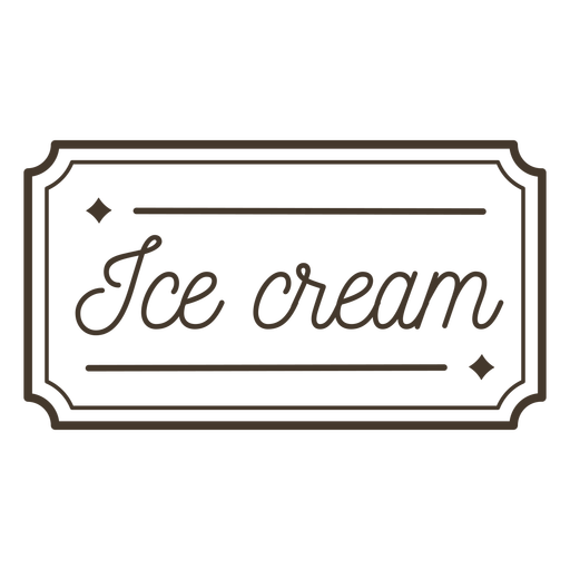 Ice Cream text lettering badge stroke
