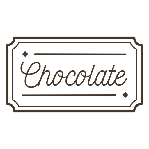 Chocolate text lettering badge stroke