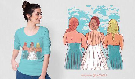Diseño de camiseta de novias y damas de honor.