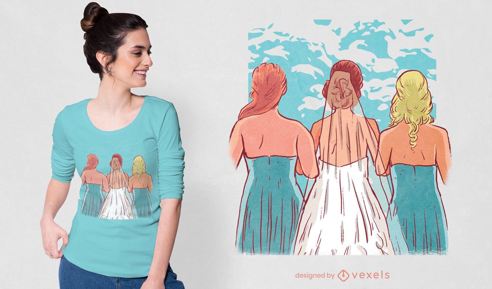 Dise?o de camiseta de novias y damas de honor.