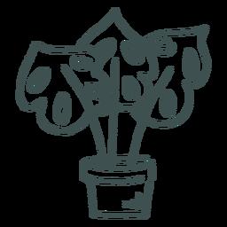 Monstera house plant doodle