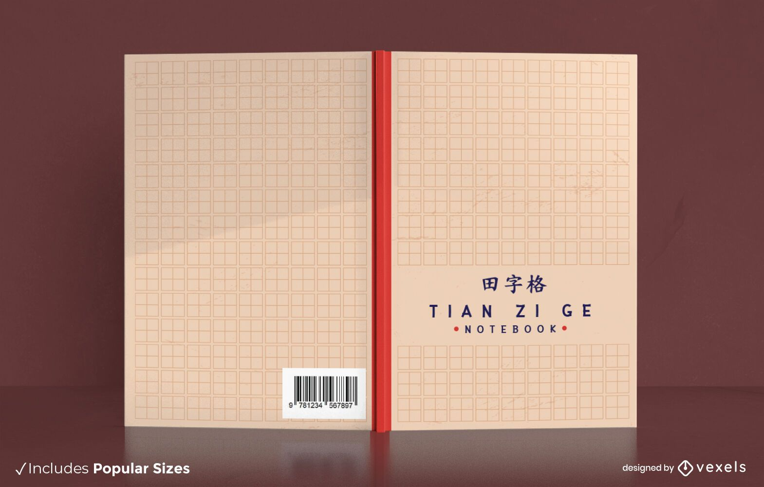 Diseño de portada de libro de cuadrícula de escritura china