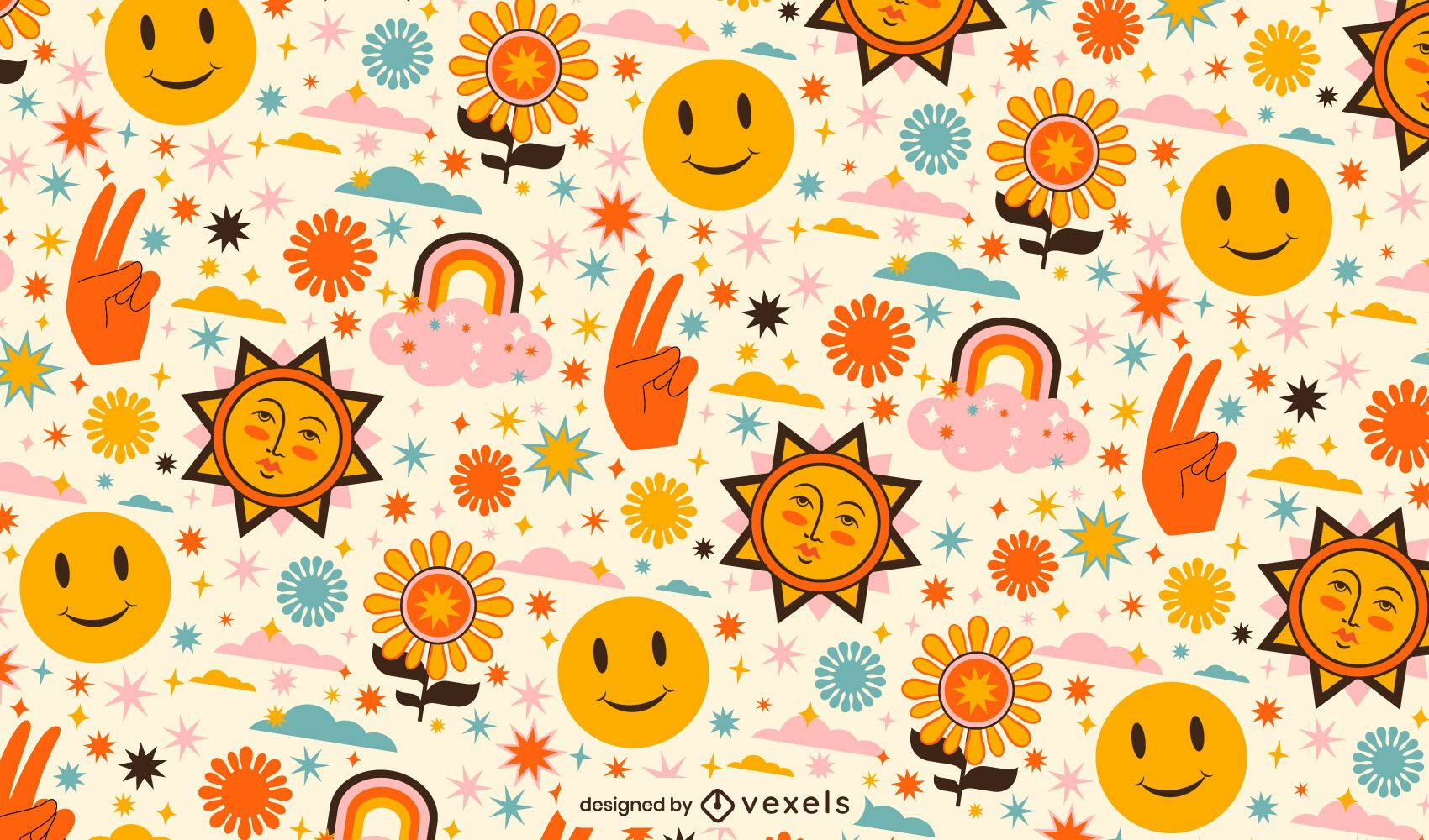 Peace day happy nature pattern design