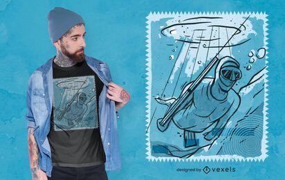 Homem pescando design de camiseta subaquática