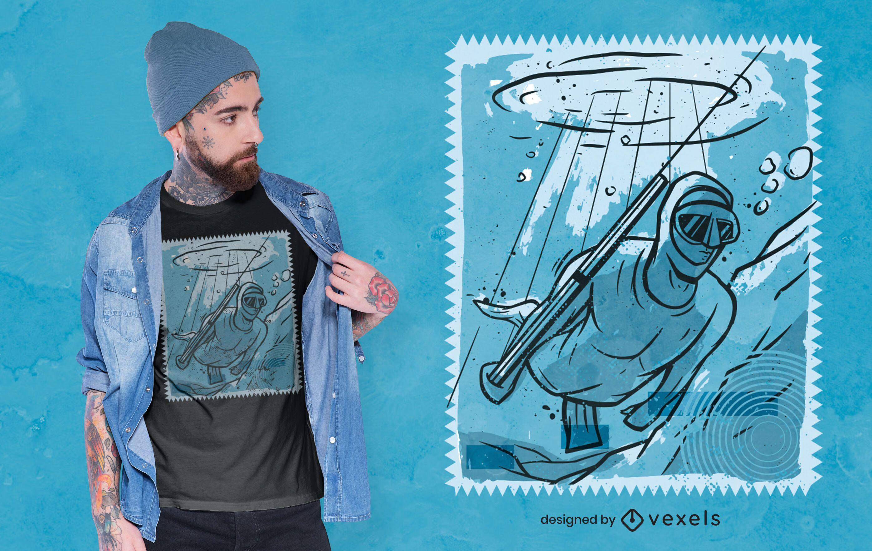 Diseño de camiseta de hombre pescando bajo el agua.