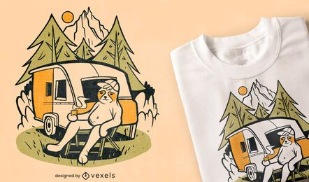 Sloth camping cartoon t-shirt design
