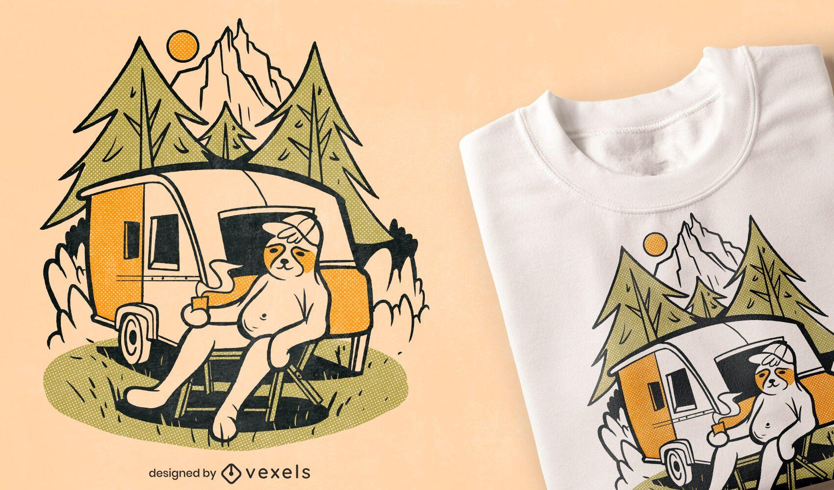 Design de camiseta de desenho animado de acampamento para preguiça