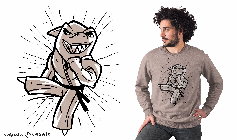 Diseño de camiseta de dibujos animados de tiburón karate
