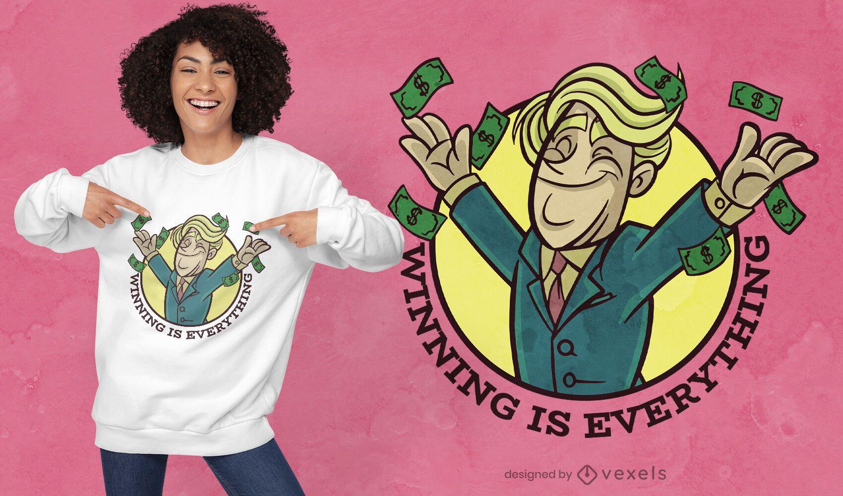 Diseño de camiseta de dibujos animados hombre tirando dinero