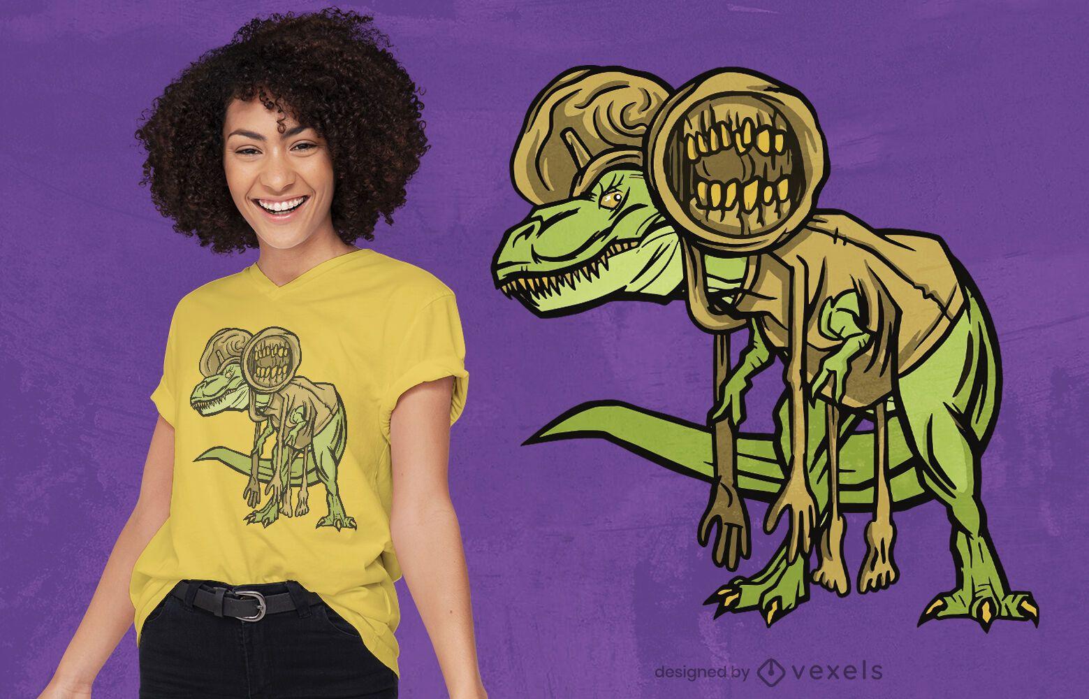 Design de camiseta com fantasia de dinossauro T-rex