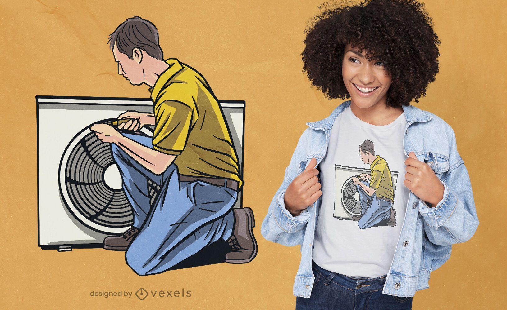 Diseño de camiseta de hombre arreglando aire acondicionado