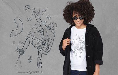 Homem de Bouldering sketch desenho de t-shirt