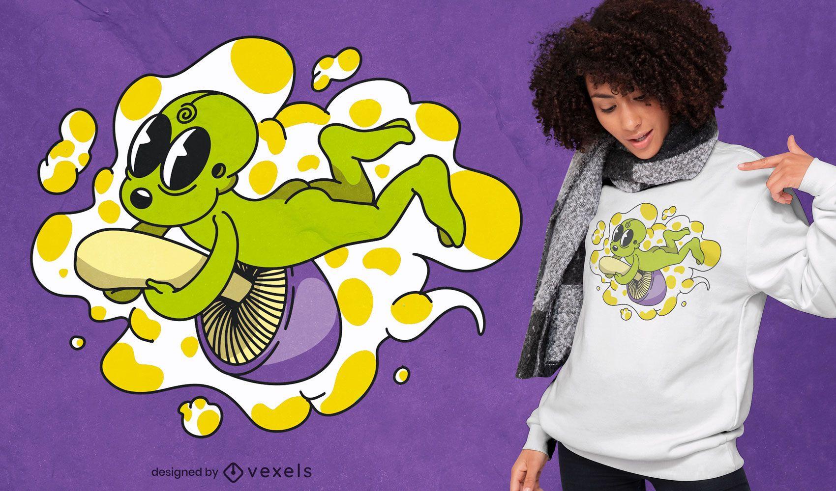 Diseño de camiseta de seta de montar alienígena.