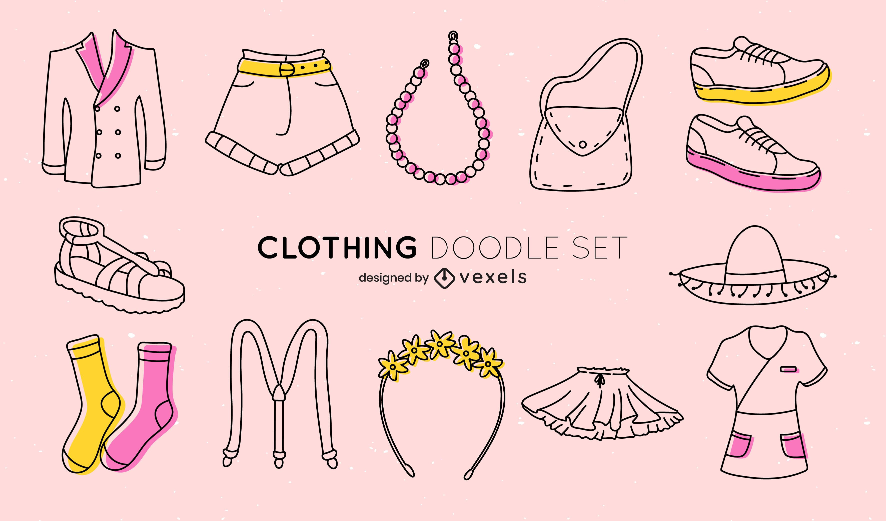 Conjunto de doodle de ropa y accesorios de mujer.