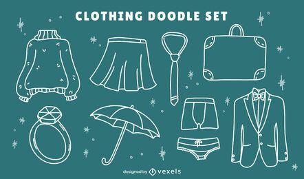Conjunto de arte de linha de roupas formais de inverno