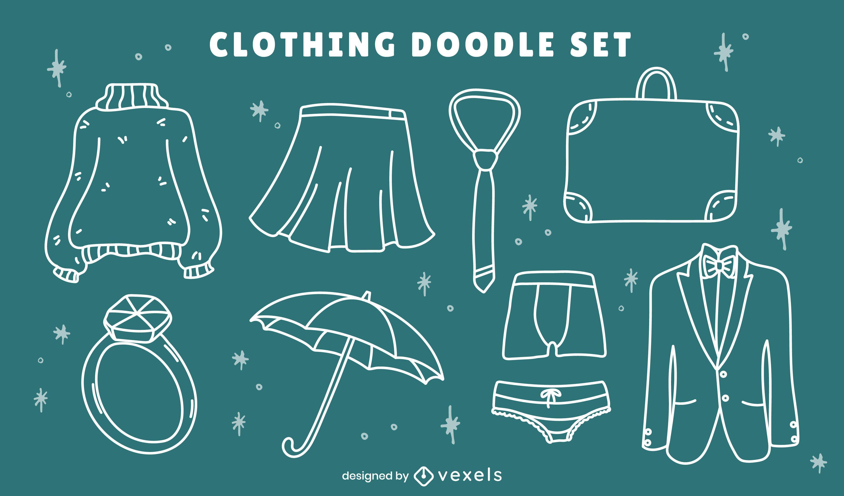 Winter formal clothing line art set