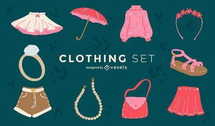 Conjunto de roupas e acessórios femininos